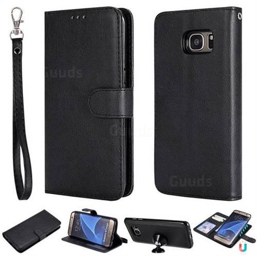 Retro Greek Detachable Magnetic PU Leather Wallet Phone Case for Samsung Galaxy S7 Edge s7edge - Black