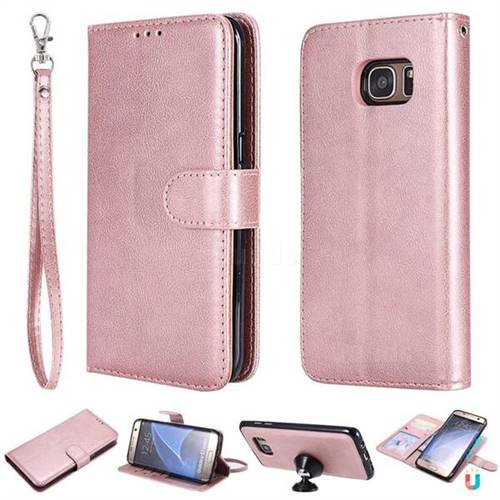 check out bb0b6 10fab Retro Greek Detachable Magnetic PU Leather Wallet Phone Case for Samsung  Galaxy S7 Edge s7edge - Rose Gold