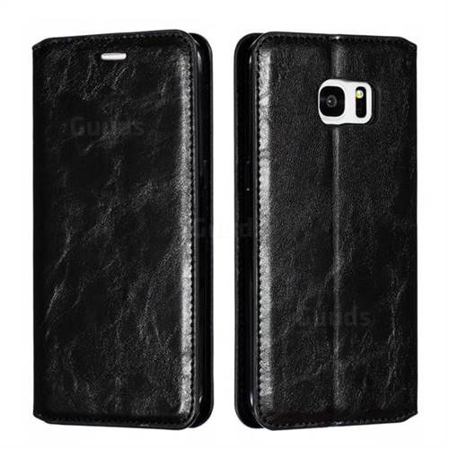 Retro Slim Magnetic Crazy Horse PU Leather Wallet Case for Samsung Galaxy S7 Edge s7edge - Black