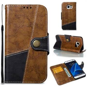 Retro Magnetic Stitching Wallet Flip Cover for Samsung Galaxy S7 Edge s7edge - Brown