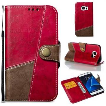 Retro Magnetic Stitching Wallet Flip Cover for Samsung Galaxy S7 Edge s7edge - Rose Red