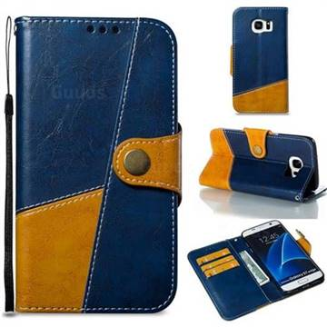 Retro Magnetic Stitching Wallet Flip Cover for Samsung Galaxy S7 Edge s7edge - Blue