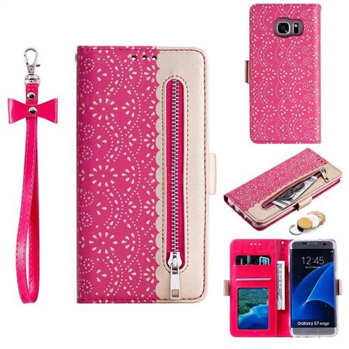Luxury Lace Zipper Stitching Leather Phone Wallet Case for Samsung Galaxy S7 Edge s7edge - Rose