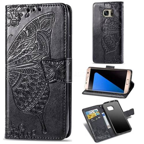Embossing Mandala Flower Butterfly Leather Wallet Case for Samsung Galaxy S7 Edge s7edge - Black