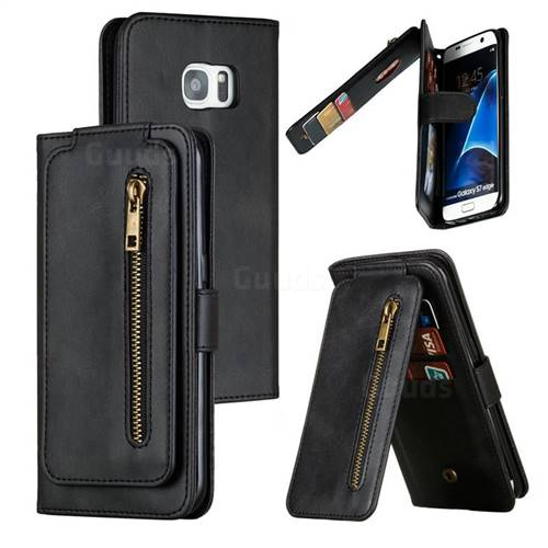 Multifunction 9 Cards Leather Zipper Wallet Phone Case for Samsung Galaxy S7 Edge s7edge - Black