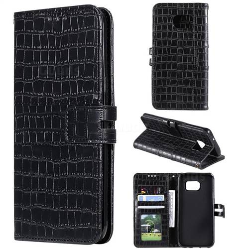 Luxury Crocodile Magnetic Leather Wallet Phone Case for Samsung Galaxy S7 Edge s7edge - Black