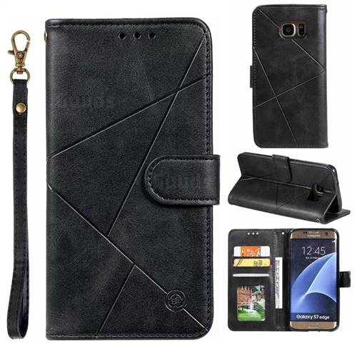 Embossing Geometric Leather Wallet Case for Samsung Galaxy S7 Edge s7edge - Black