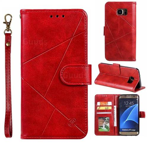 Embossing Geometric Leather Wallet Case for Samsung Galaxy S7 Edge s7edge - Red