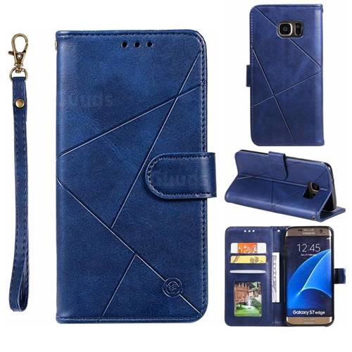 Embossing Geometric Leather Wallet Case for Samsung Galaxy S7 Edge s7edge - Blue