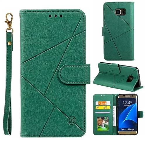 Embossing Geometric Leather Wallet Case for Samsung Galaxy S7 Edge s7edge - Green