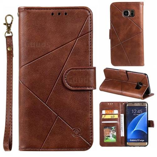 Embossing Geometric Leather Wallet Case for Samsung Galaxy S7 Edge s7edge - Brown