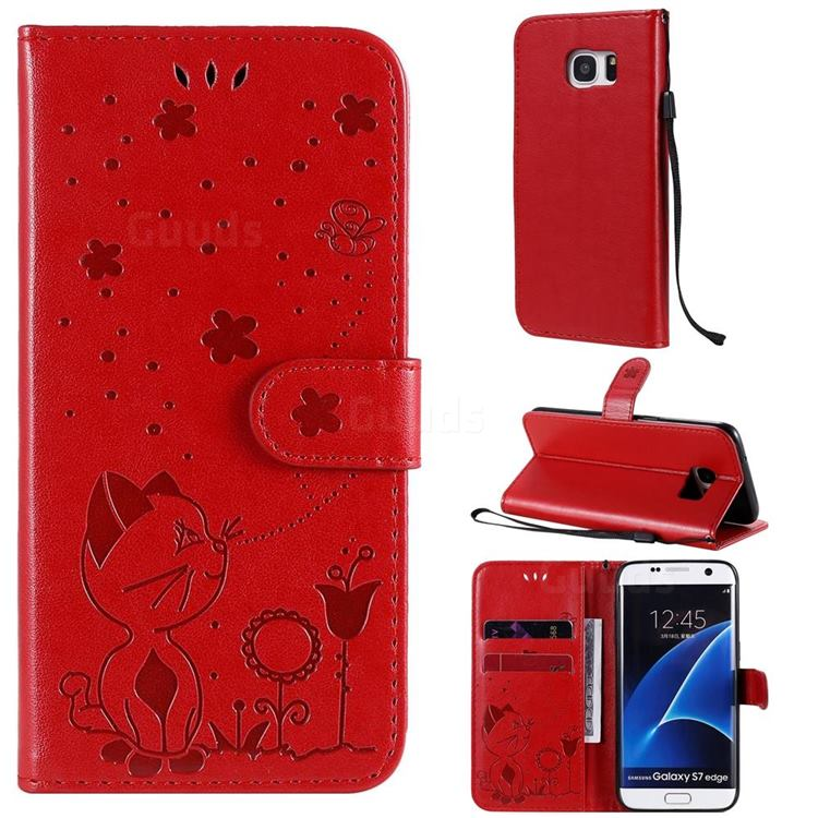 Embossing Bee and Cat Leather Wallet Case for Samsung Galaxy S7 Edge s7edge - Red