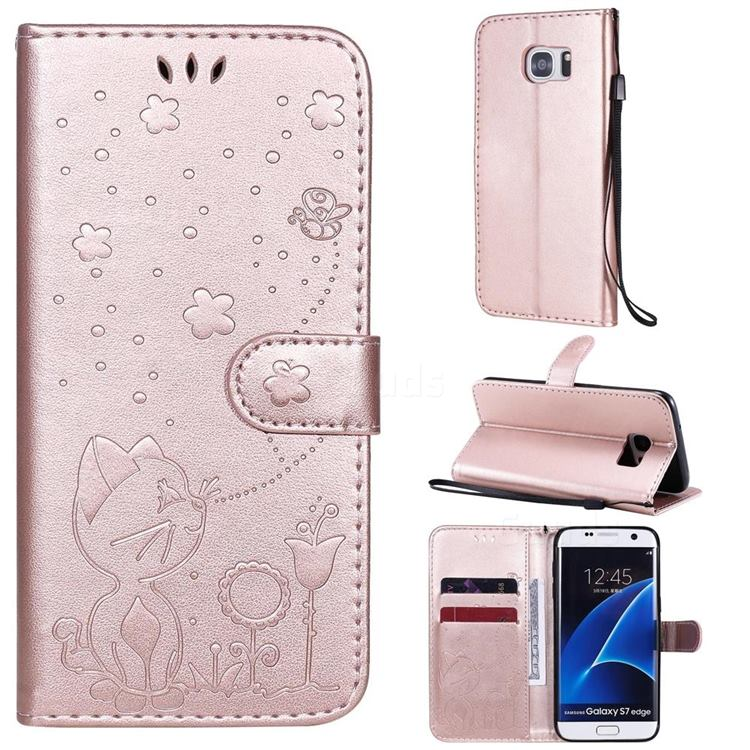 Embossing Bee and Cat Leather Wallet Case for Samsung Galaxy S7 Edge s7edge - Rose Gold