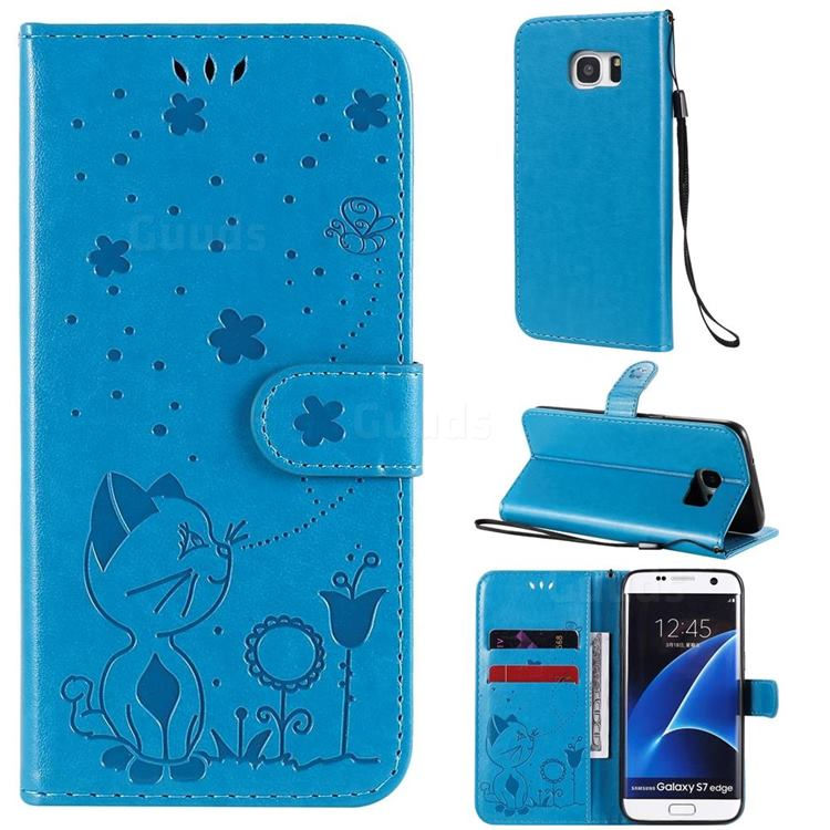 Embossing Bee and Cat Leather Wallet Case for Samsung Galaxy S7 Edge s7edge - Blue