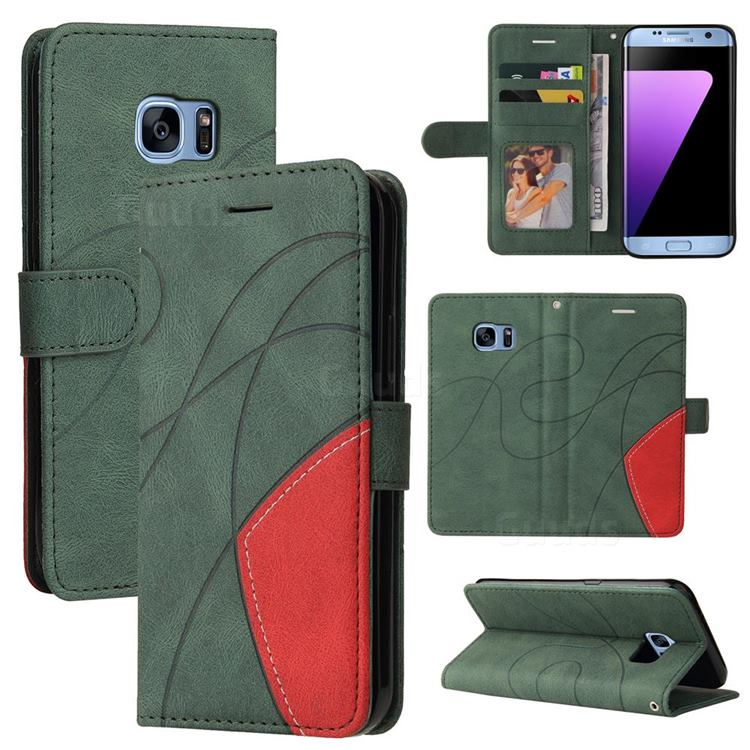 Luxury Two-color Stitching Leather Wallet Case Cover for Samsung Galaxy S7 Edge s7edge - Green