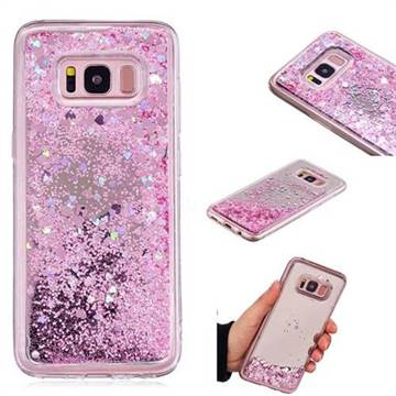 Glitter Sand Mirror Quicksand Dynamic Liquid Star TPU Case for Samsung Galaxy S8 - Cherry Pink