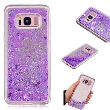 Glitter Sand Mirror Quicksand Dynamic Liquid Star TPU Case for Samsung Galaxy S8 - Purple