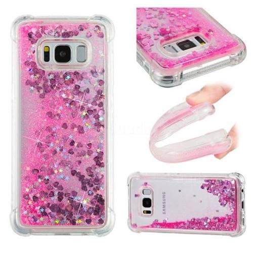 Dynamic Liquid Glitter Sand Quicksand TPU Case for Samsung Galaxy S8 - Pink Love Heart