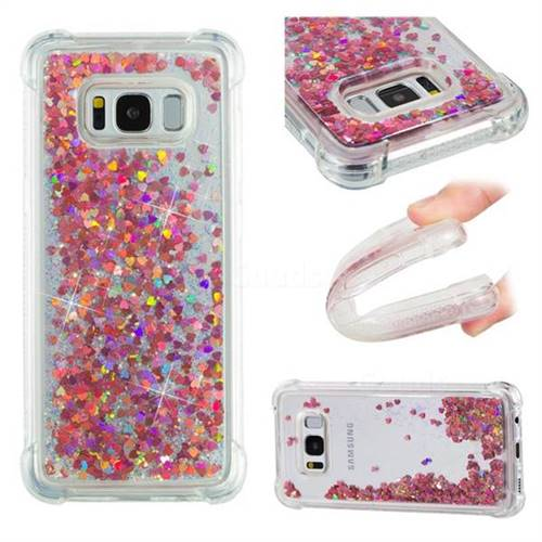 Dynamic Liquid Glitter Sand Quicksand TPU Case for Samsung Galaxy S8 - Rose Gold Love Heart