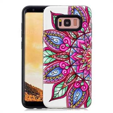 Mandara Flower Pattern 2 in 1 PC + TPU Glossy Embossed Back Cover for Samsung Galaxy S8