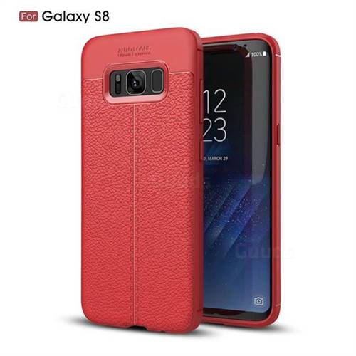 Luxury Auto Focus Litchi Texture Silicone TPU Back Cover for Samsung Galaxy S8 - Red