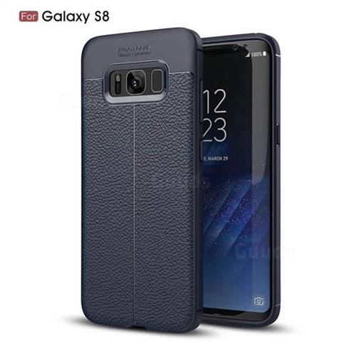Luxury Auto Focus Litchi Texture Silicone TPU Back Cover for Samsung Galaxy S8 - Dark Blue