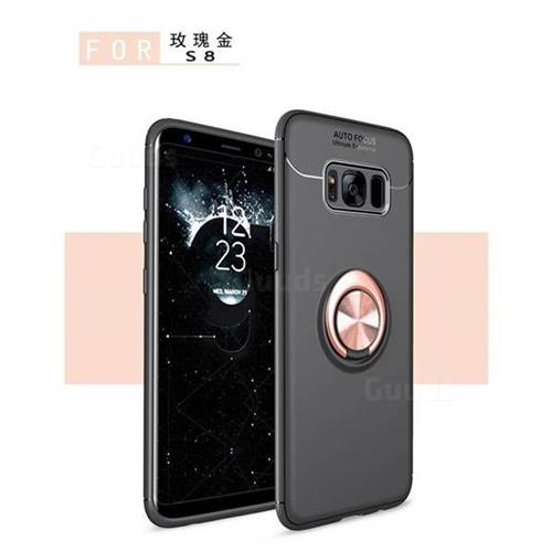 Auto Focus Invisible Ring Holder Soft Phone Case for Samsung Galaxy S8 - Black Gold