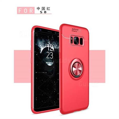 Auto Focus Invisible Ring Holder Soft Phone Case for Samsung Galaxy S8 - Red