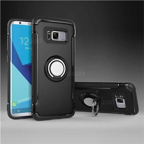 Armor Anti Drop Carbon PC + Silicon Invisible Ring Holder Phone Case for Samsung Galaxy S8 - Black
