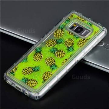 Pineapple Glassy Glitter Quicksand Dynamic Liquid Soft Phone Case for Samsung Galaxy S8