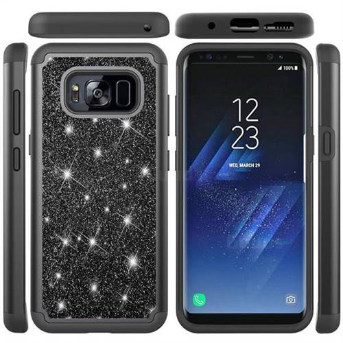 Glitter Rhinestone Bling Shock Absorbing Hybrid Defender Rugged Phone Case Cover for Samsung Galaxy S8 - Black