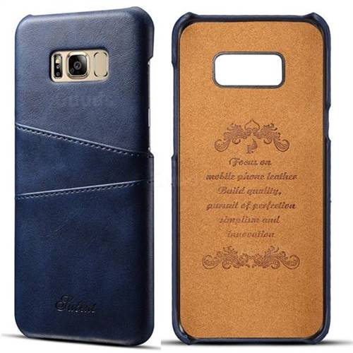 Suteni Retro Classic Card Slots Calf Leather Coated Back Cover for Samsung Galaxy S8 - Blue