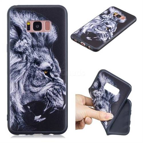 Lion 3D Embossed Relief Black TPU Cell Phone Back Cover for Samsung Galaxy S8