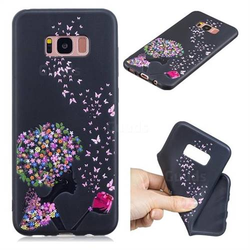 Corolla Girl 3D Embossed Relief Black TPU Cell Phone Back Cover for Samsung Galaxy S8