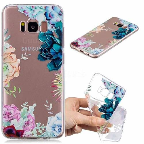 Gem Flower Clear Varnish Soft Phone Back Cover for Samsung Galaxy S8