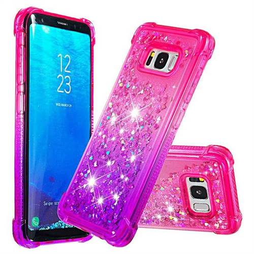 Rainbow Gradient Liquid Glitter Quicksand Sequins Phone Case for Samsung Galaxy S8 - Pink Purple