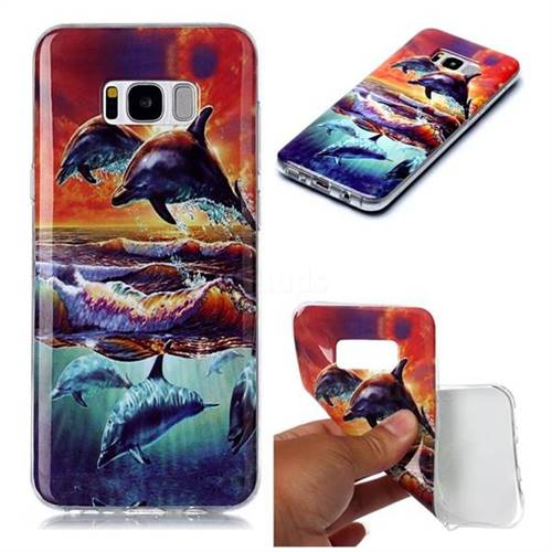 Flying Dolphin Soft TPU Cell Phone Back Cover for Samsung Galaxy S8