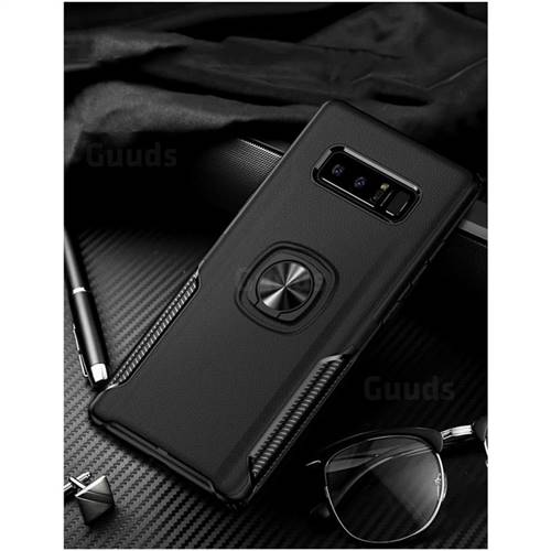 Knight Armor Anti Drop PC + Silicone Invisible Ring Holder Phone Cover for Samsung Galaxy S8 - Black