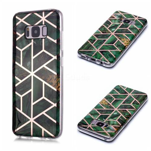 Green Rhombus Galvanized Rose Gold Marble Phone Back Cover for Samsung Galaxy S8