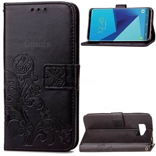 Embossing Imprint Four-Leaf Clover Leather Wallet Case for Samsung Galaxy S8 - Black