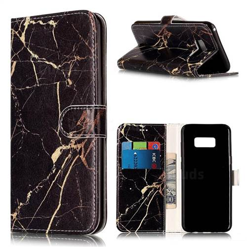 Black Gold Marble PU Leather Wallet Case for Samsung Galaxy S8