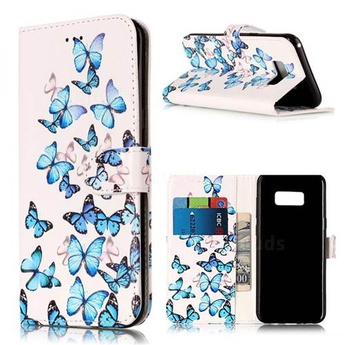 Blue Vivid Butterflies PU Leather Wallet Case for Samsung Galaxy S8