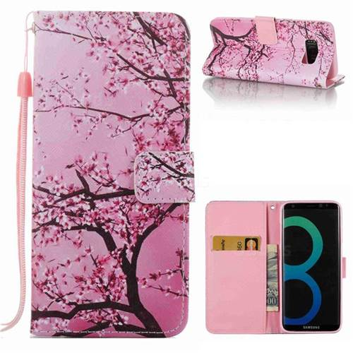 Cherry Tree Leather Wallet Phone Case for Samsung Galaxy S8