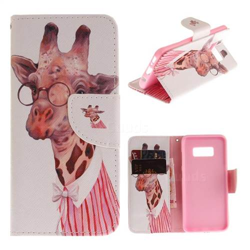 Pink Giraffe PU Leather Wallet Case for Samsung Galaxy S8