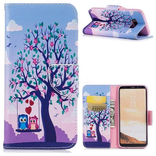 Tree and Owls Leather Wallet Case for Samsung Galaxy S8