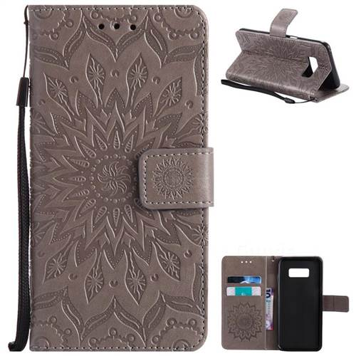 Embossing Sunflower Leather Wallet Case for Samsung Galaxy S8 - Gray