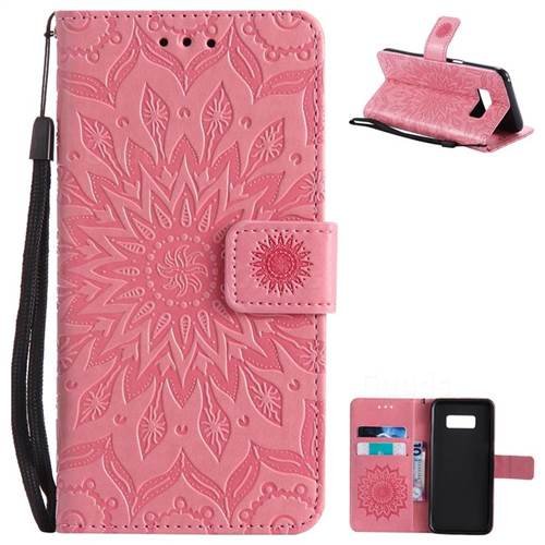 Embossing Sunflower Leather Wallet Case for Samsung Galaxy S8 - Pink