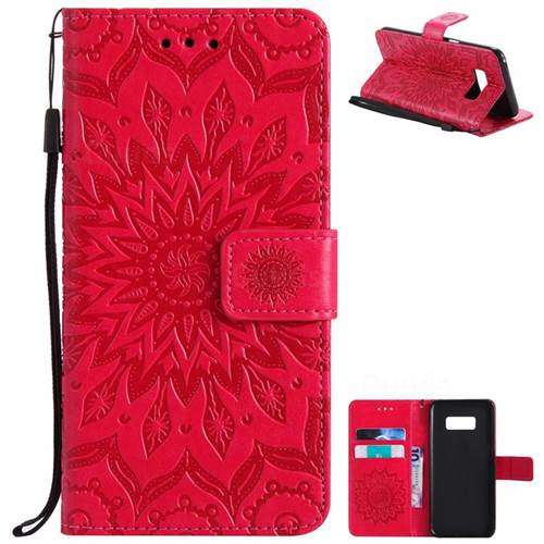 Embossing Sunflower Leather Wallet Case for Samsung Galaxy S8 - Red