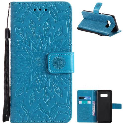 Embossing Sunflower Leather Wallet Case for Samsung Galaxy S8 - Blue