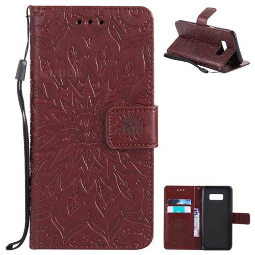 Embossing Sunflower Leather Wallet Case for Samsung Galaxy S8 - Brown
